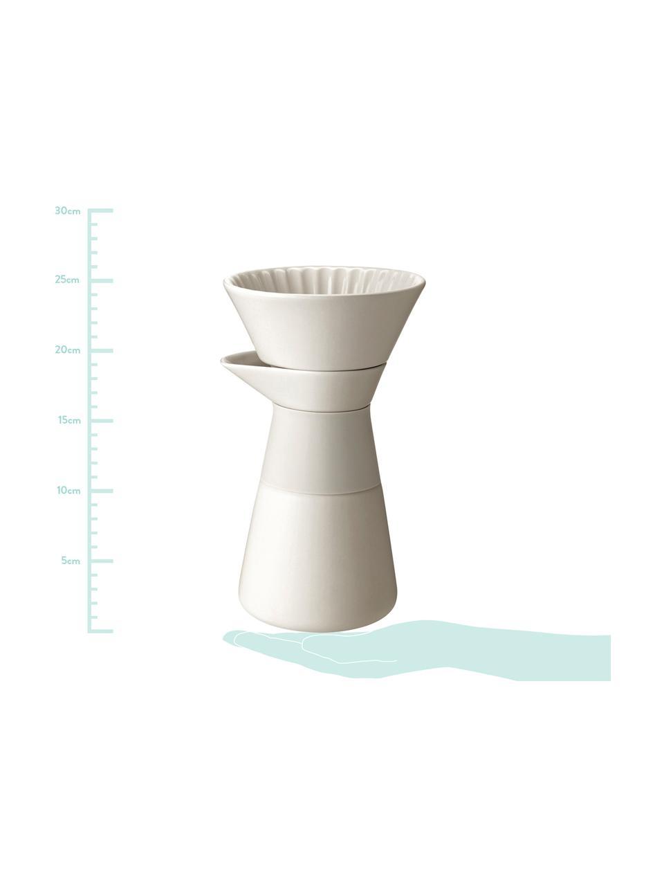 Kaffeezubereiter Theo in Creme matt, Deckel: Bambusholz, Griff: Wärmeisolierendes Silikon, Creme, 600 ml