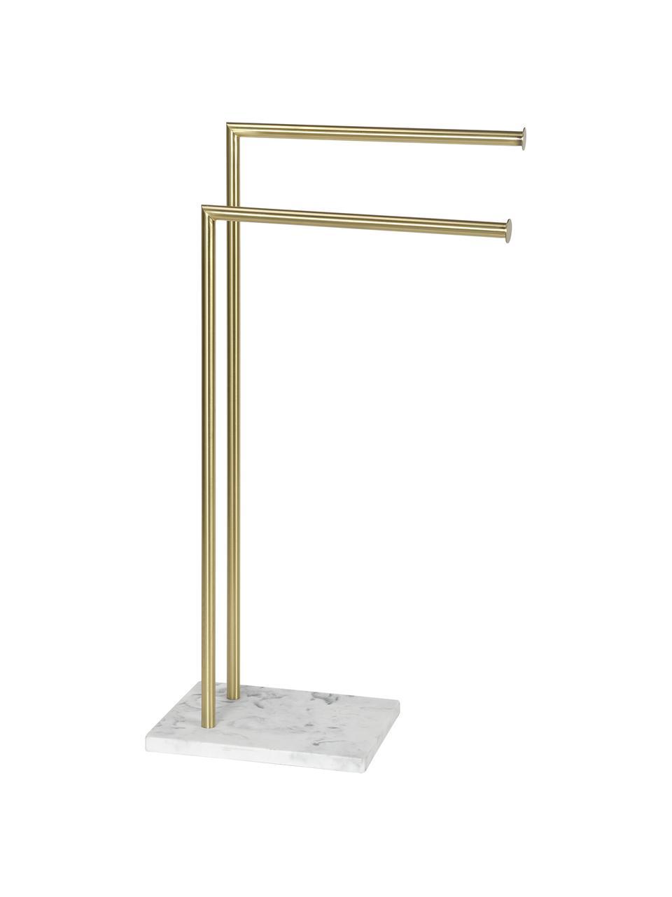 Handtuchhalter Albany, Halter: Metall, beschichtet, Messingfarben, Weiß, 25 x 83 cm
