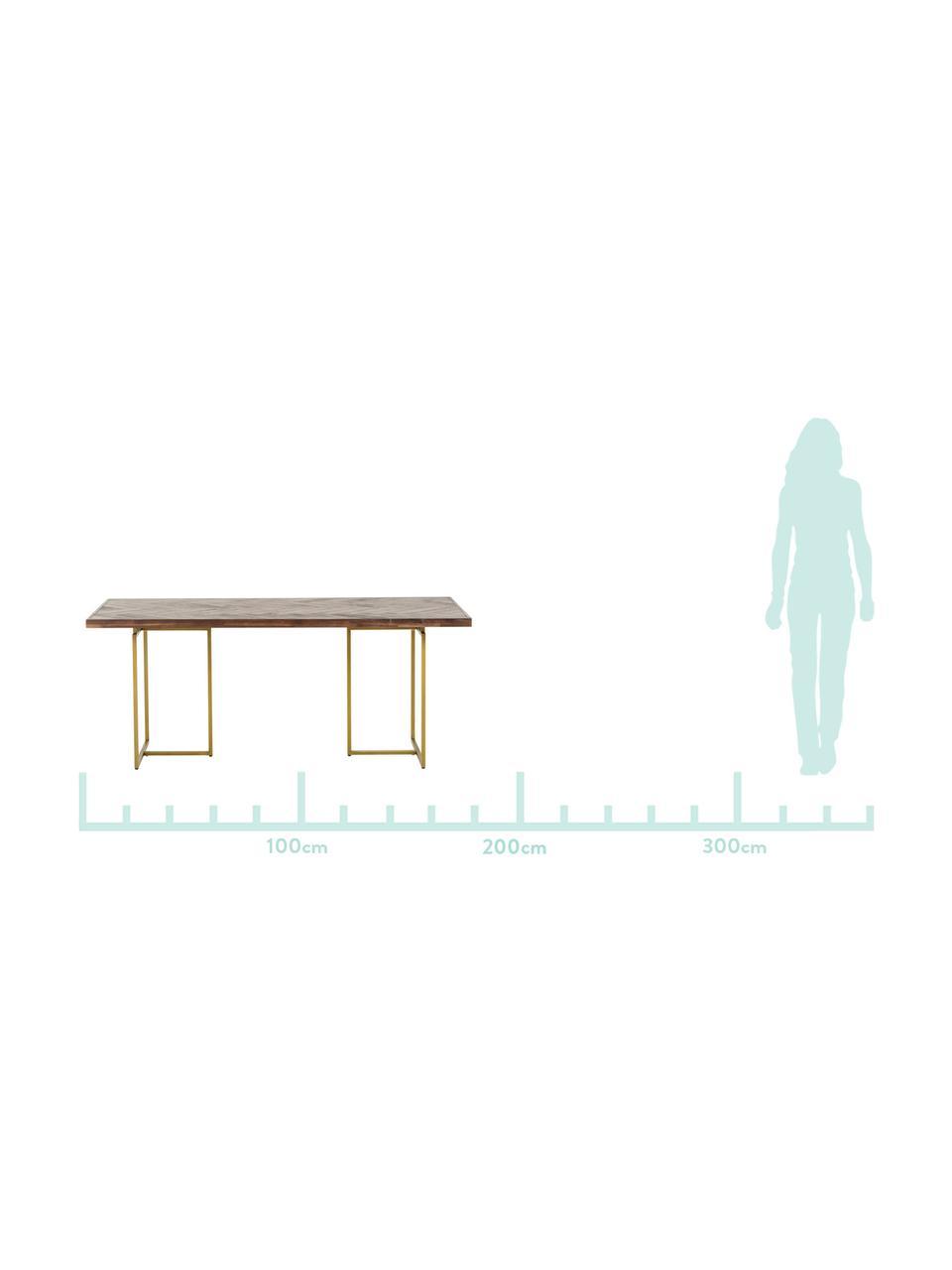 Mesa de comedor en acacia Class, Tablero: tablero de fibras de dens, Patas: metal con pintura en polv, Marrón, An 220 x F 90 cm