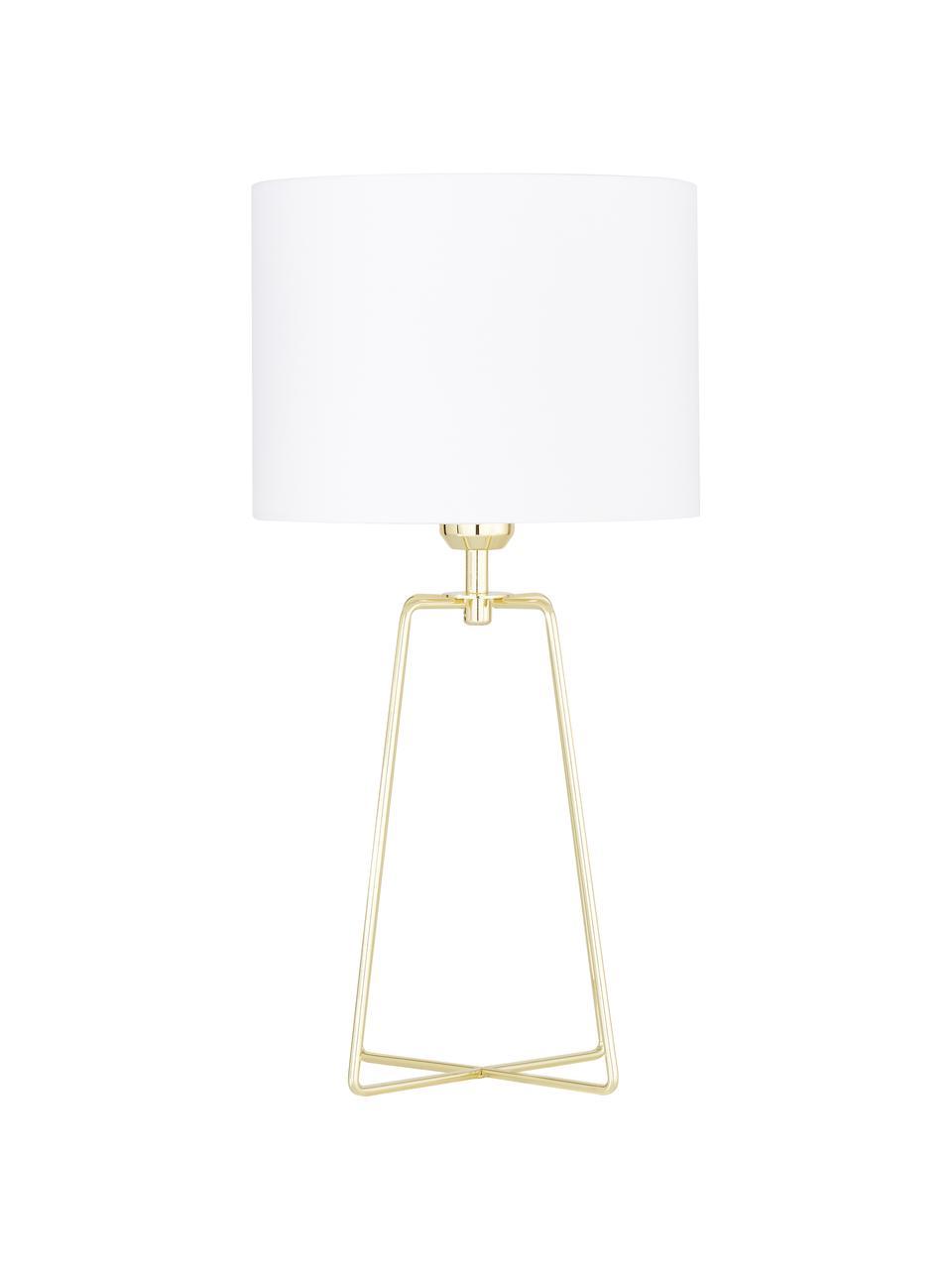 Tischlampe Karolina mit goldenem Lampenfuß, Lampenschirm: Baumwolle, Lampenfuß: Metall, vermessingt, Weiß, Gold, Ø 25 x H 49 cm