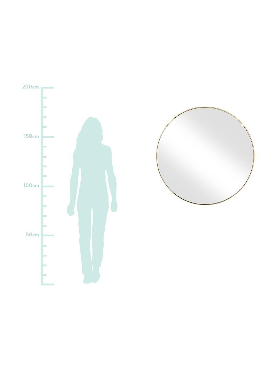 Specchio da parete rotondo con cornice dorata Ada, Cornice: ferro ottonato, Superficie dello specchio: lastra di vetro, Ottone spazzolato, Ø 120 cm