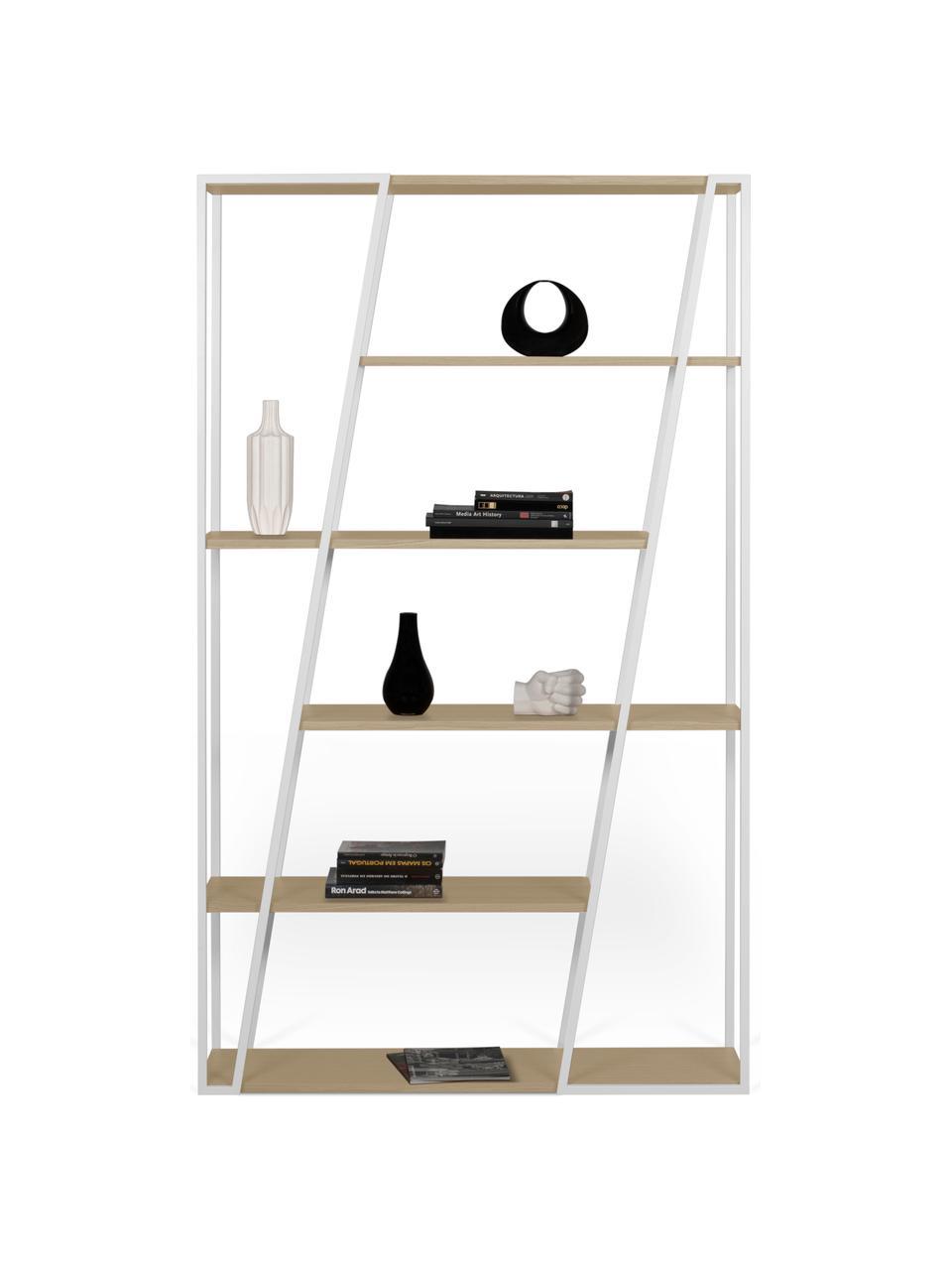 Standregal Albi aus Holz und Metall, Gestell: Metall, beschichtet, Regalboden: Mitteldichte Holzfaserpla, Weiß, Eichenholz, 120 x 197 cm