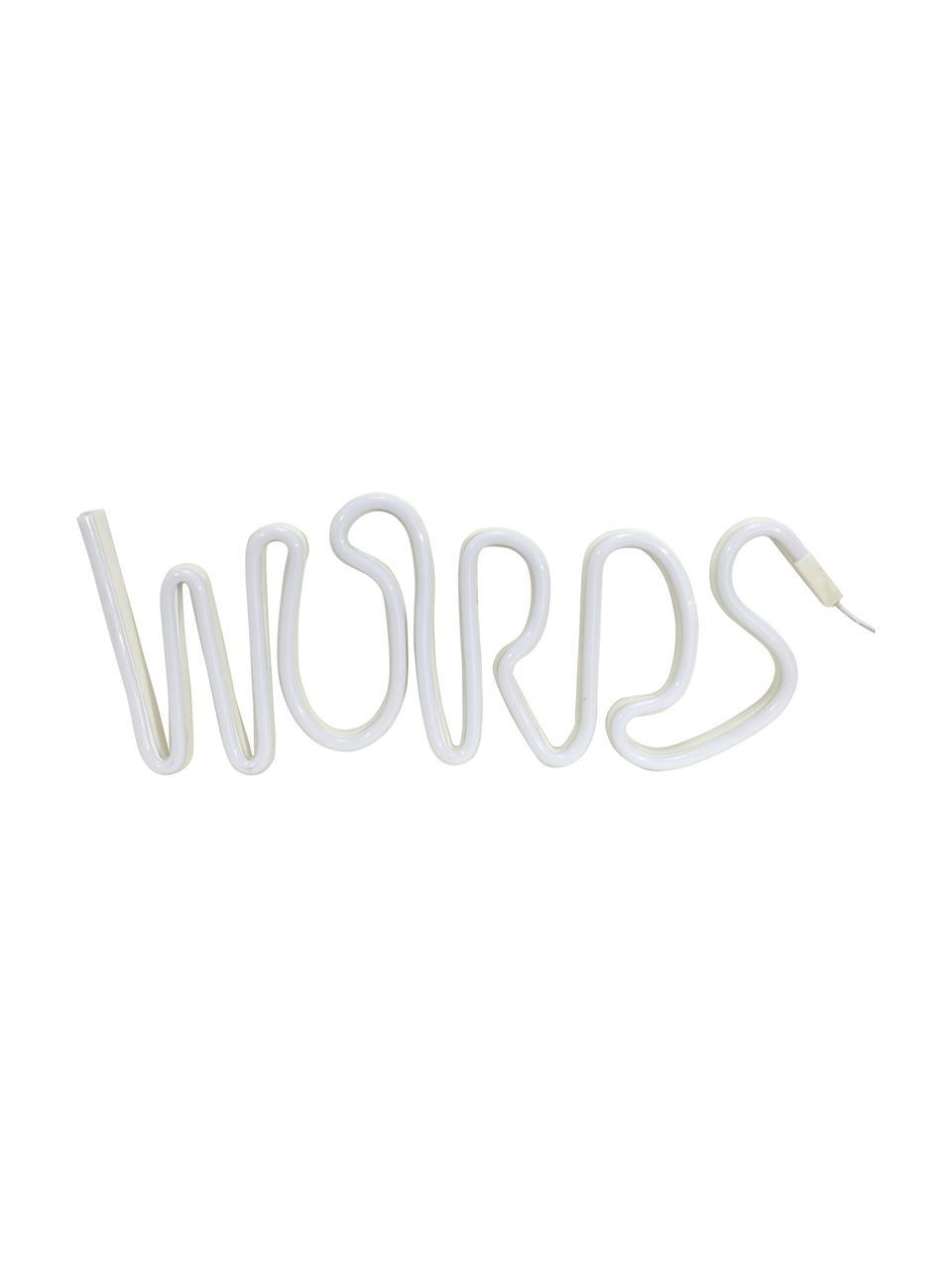 LED-Leuchtobjekt Words, Kunststoff, Weiß, 40 x 19 cm