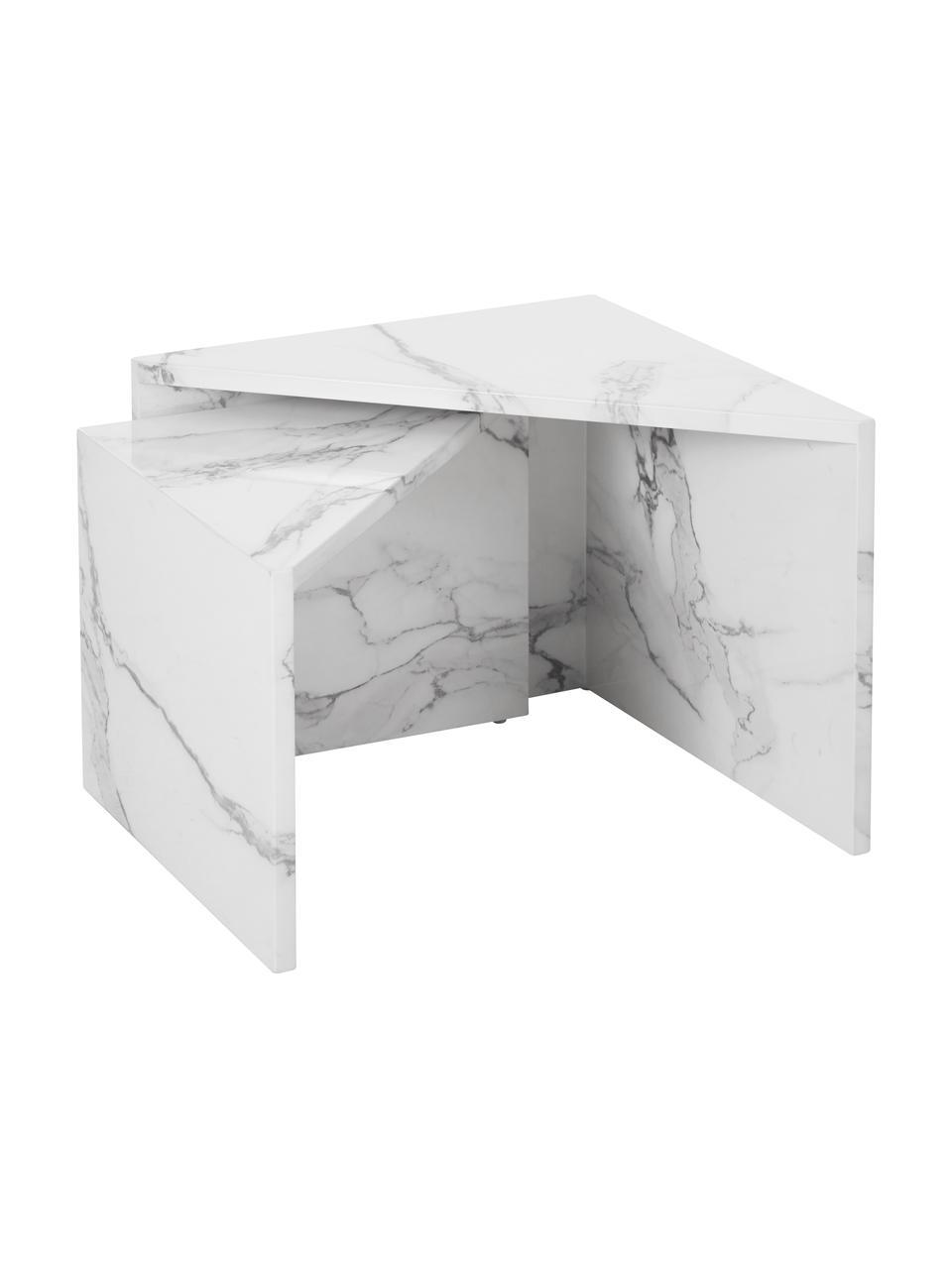 Couchtisch 2er-Set Vilma in Marmor-Optik, Mitteldichte Holzfaserplatte (MDF), mit lackbeschichtetem Papier in Marmoroptik überzogen, Weiß, marmoriert, glänzend, Sondergrößen