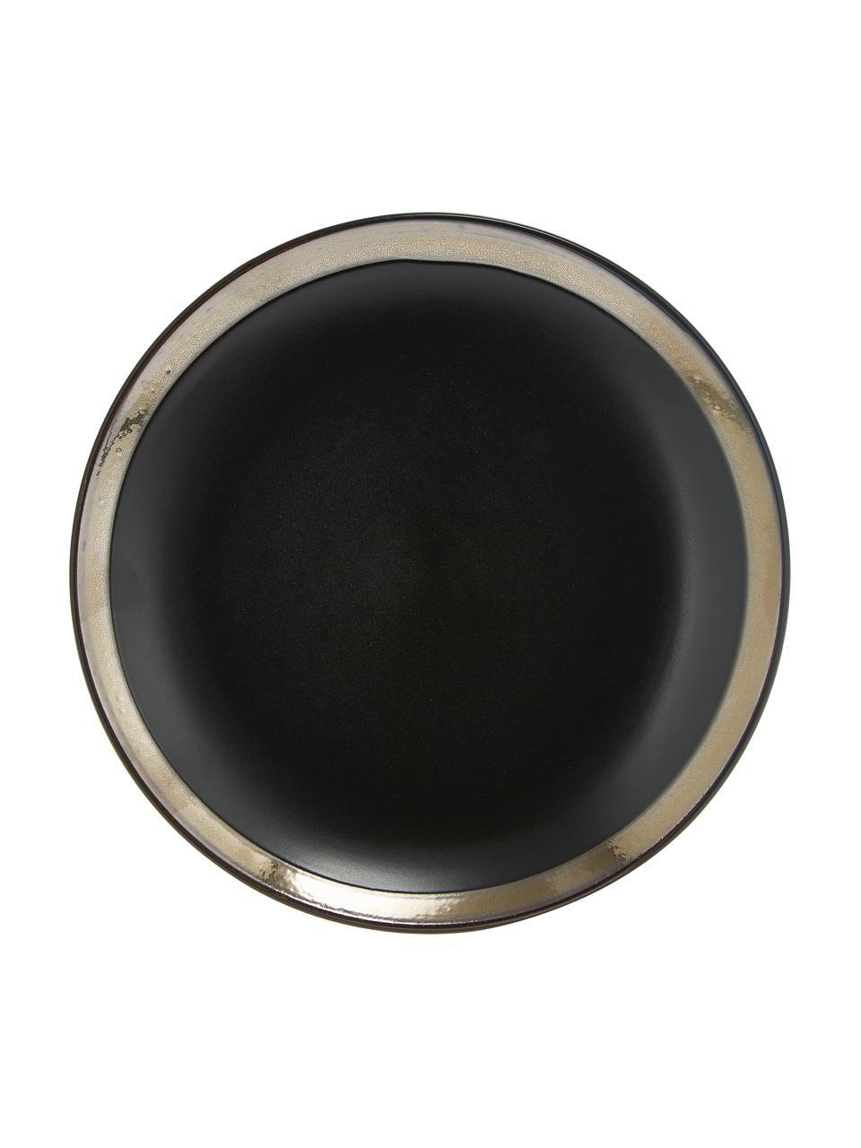 Geschirrset Naima in Schwarz mit goldenem Rand, 6 Personen (18-tlg.), Steingut, Schwarz, Goldfarben, Sondergrößen