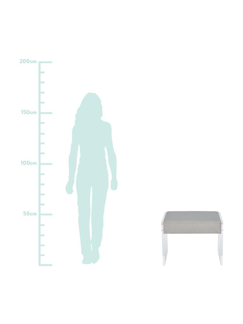 Samt-Hocker Ayden mit Gestell aus Acrylglas, Bezug: Samt (Polyester) 25.000 S, Gestell: Massives Pappelholz, Sper, Beine: Acrylglas, Bezug: HellgrauGestell: Transparent, 61 x 45 cm
