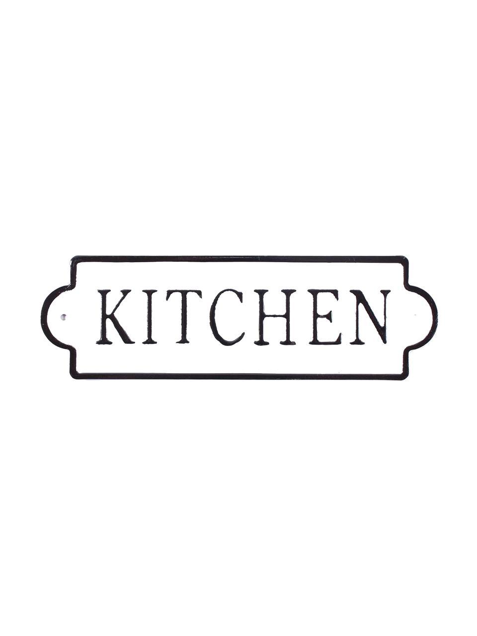 Wandschild Kitchen, Metall, mit Motivfolie beklebt, Weiß, Schwarz, 26 x 8 cm