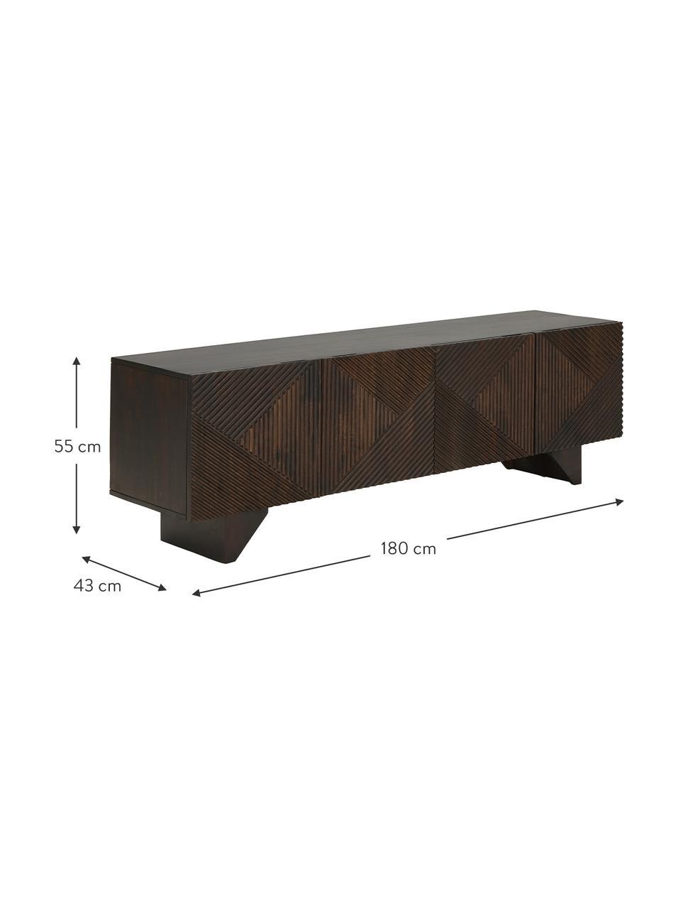 Tv-meubel Louis van massief mangohout met deuren, Gelakt massief mangohout, Mangohout, 180 x 55 cm