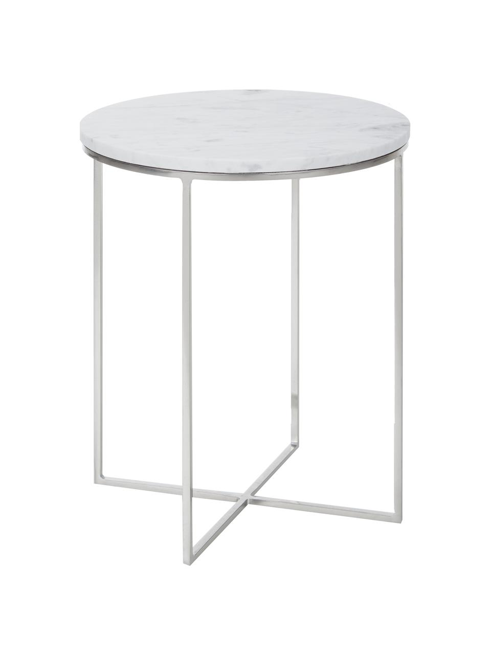 Table d'appoint ronde marbre Alys, Plateau: marbre blanc-gris, léger brillant Structure: couleur argentée, mat