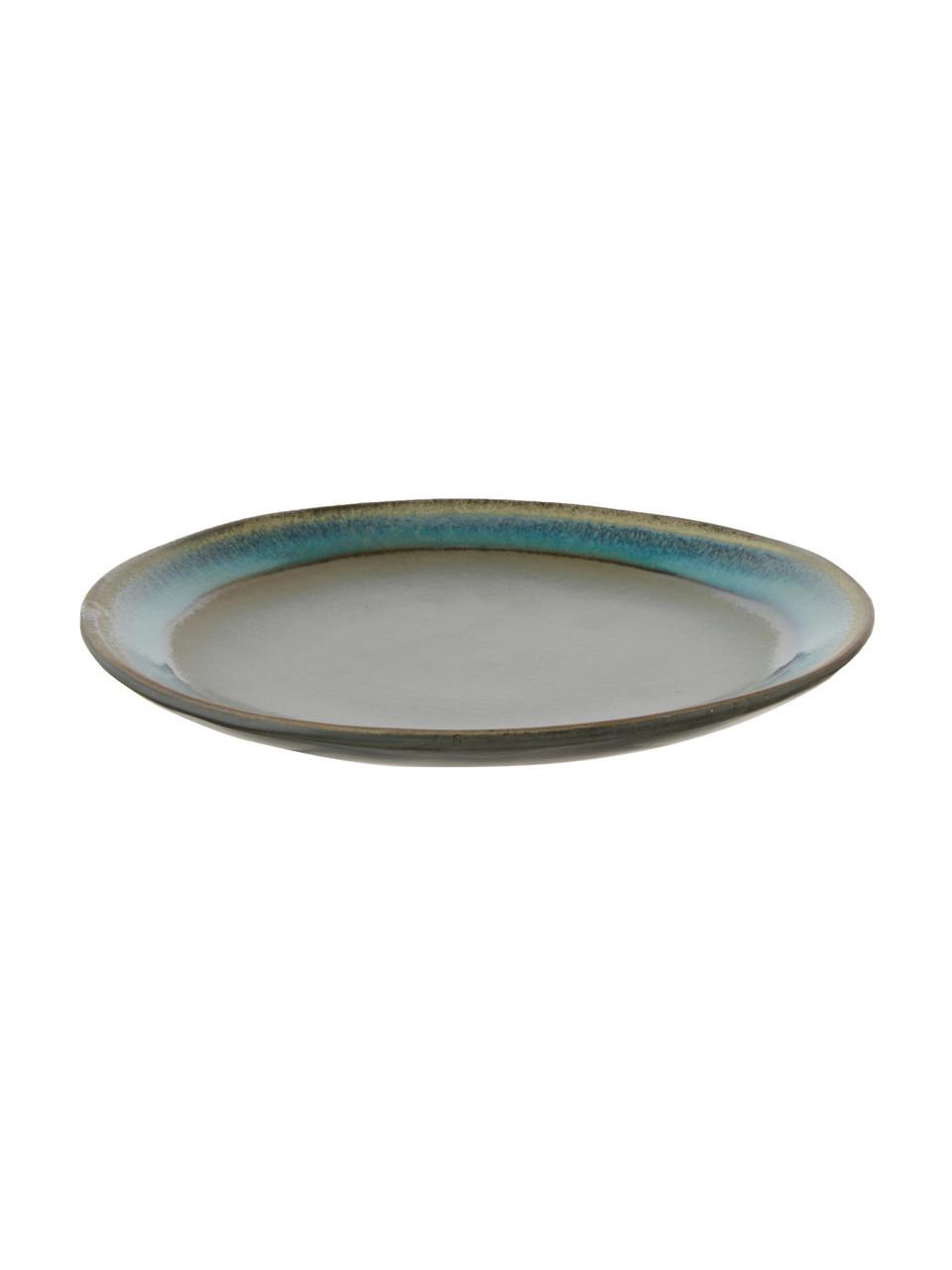 Piatto piano retrò fatto a mano 70's 2 pz, Ceramica, Tonalità blu, tonalità verdi, Ø 18 cm