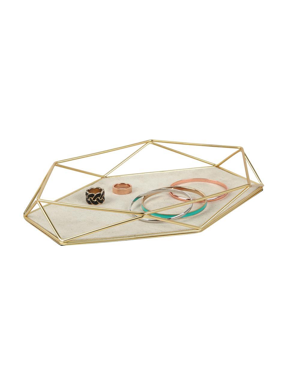 Taca dekoracyjna Prisma, Stelaż: stal mosiądzowana, Mosiądz, jasny taupe, S 28 x W 4 cm