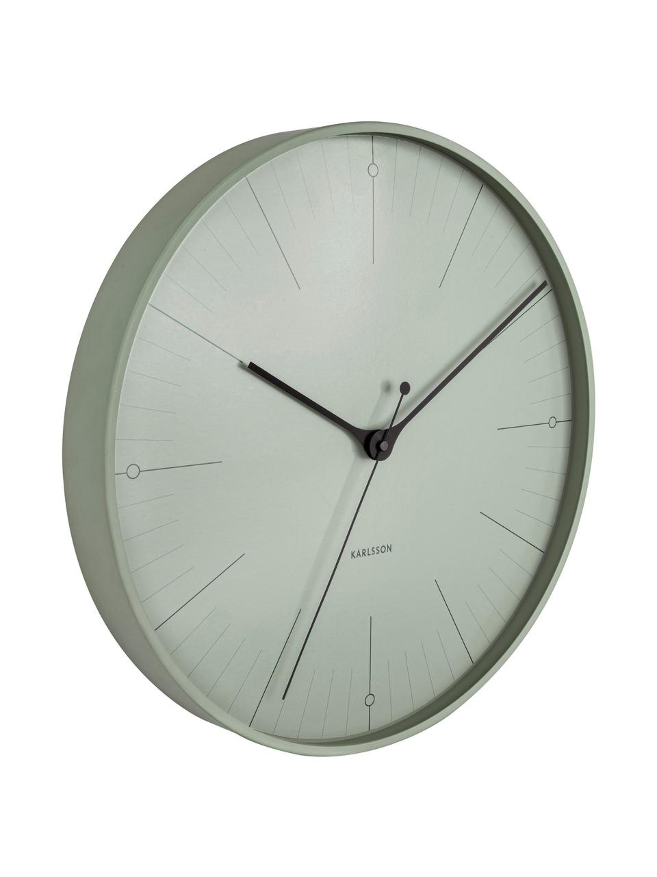 Reloj de pared Index, Metal recubierto, Negro, verde, Ø 40 cm