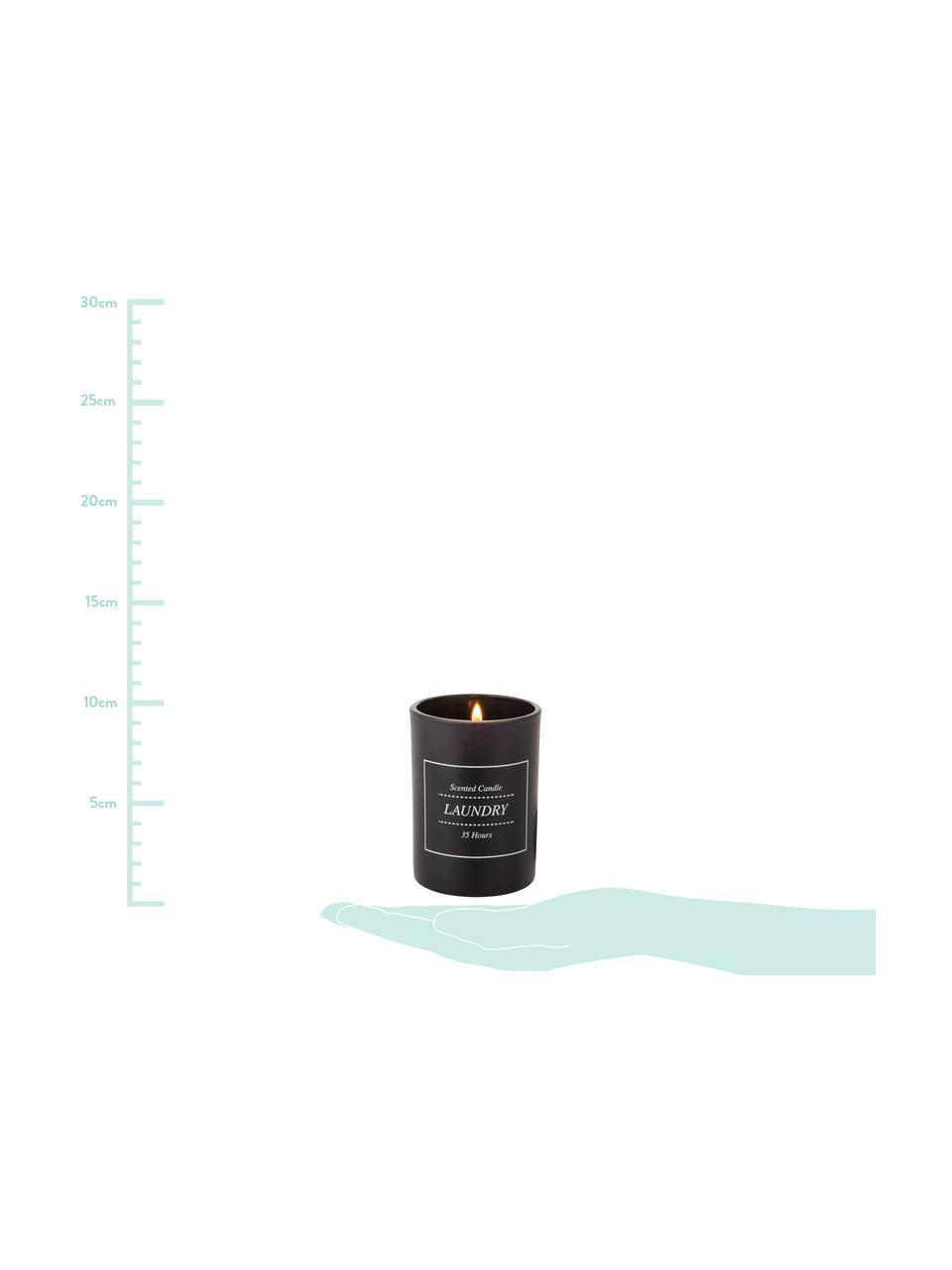Świeca zapachowa Laundry (świeże pranie), Czarny, biały, Ø 8 x W 10 cm