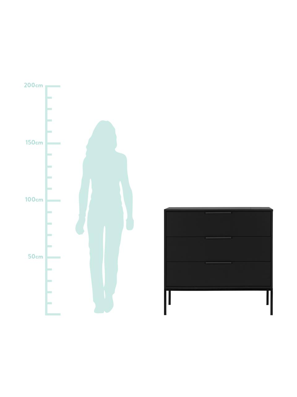 Szafka z szufladami Adam, Korpus: drewno sosnowe, Czarny, S 94 x W 93 cm