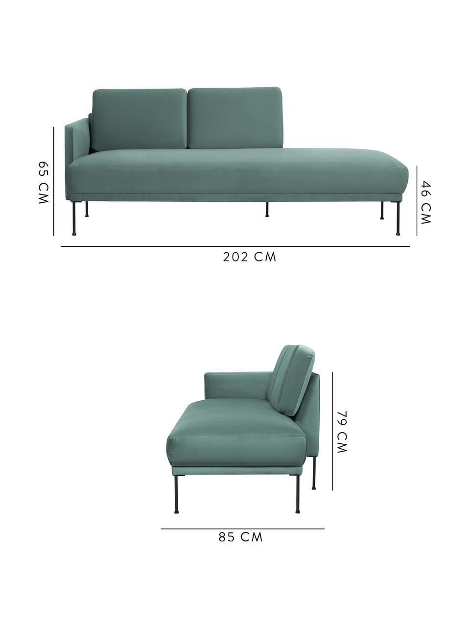 Fluwelen chaise longue Fluente in lichtgroen met metalen poten, Bekleding: fluweel (hoogwaardig poly, Frame: massief grenenhout, Poten: gepoedercoat metaal, Fluweel lichtgroen, B 202 x D 85 cm