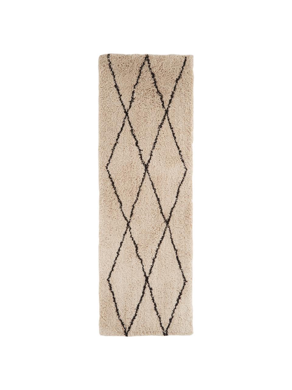 Passatoia tessuta a mano Nouria, Retro: 100% cotone, Beige, nero, Larg. 80 x Lung. 250 cm