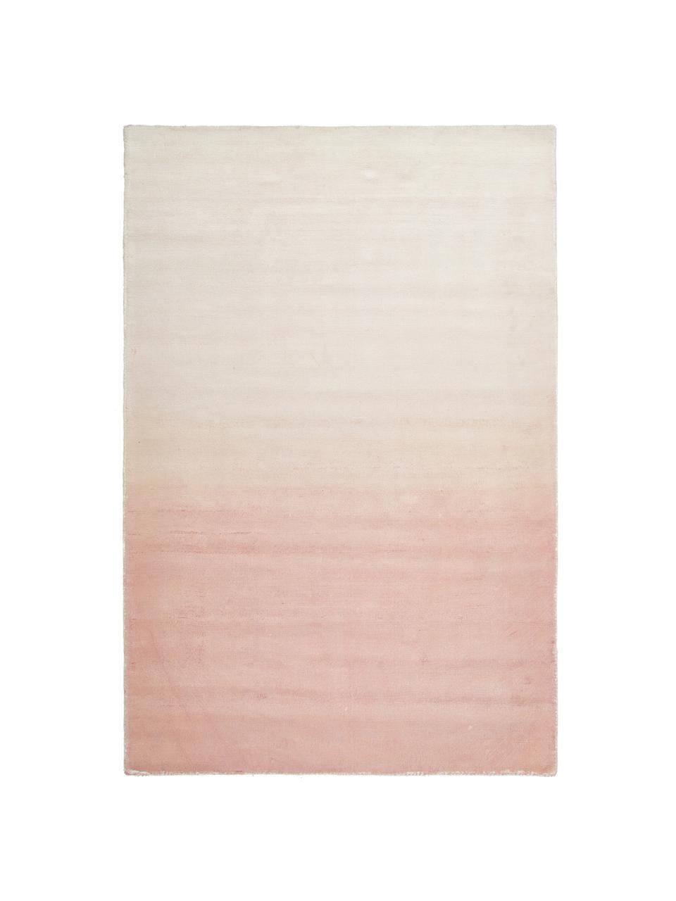 Handgeweven viscose vloerkleed Alana met kleurverloop, 100% viscose, Roze, beige, B 200 x L 300 cm (maat L)