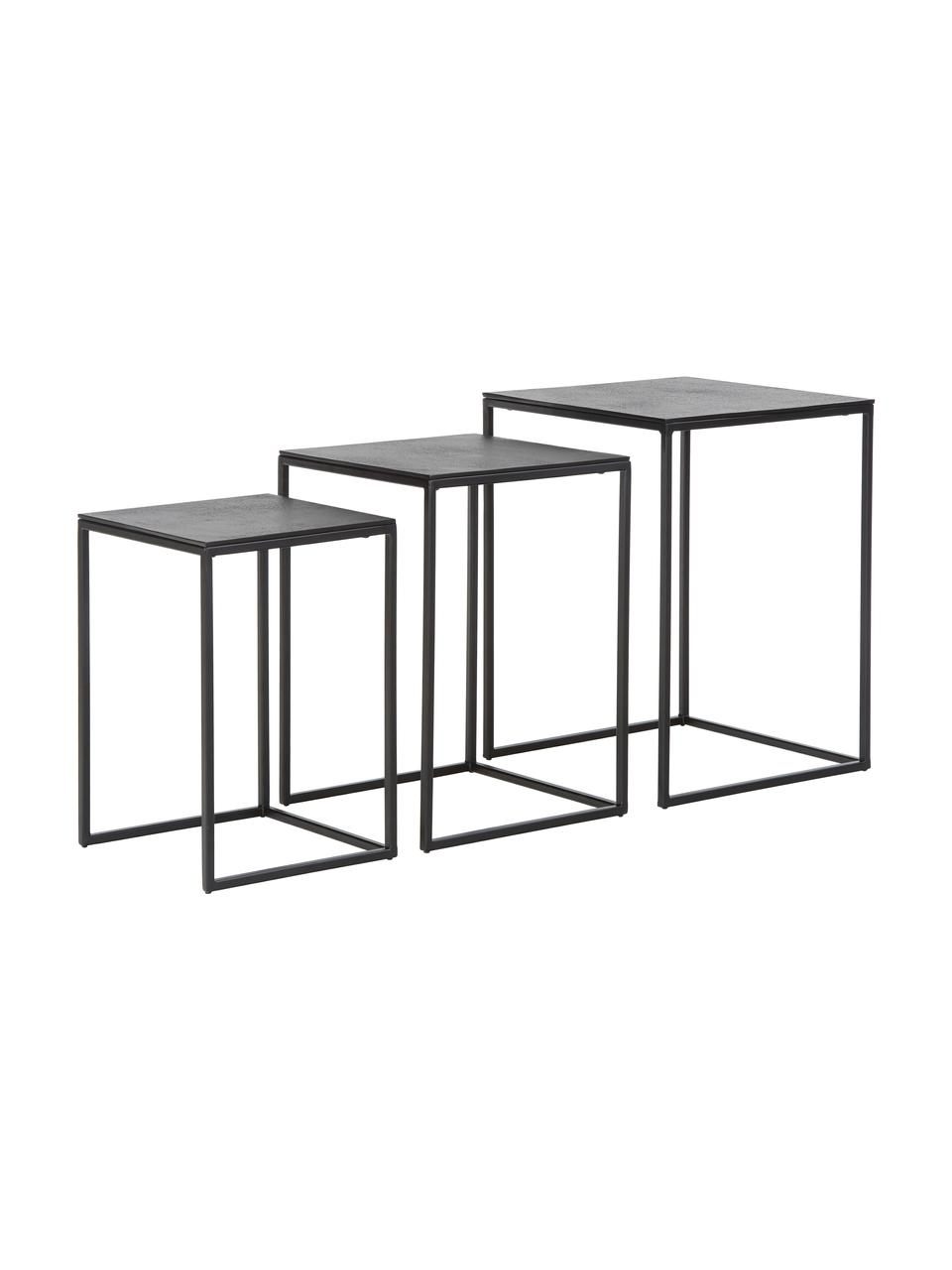Tables gigognes métal noir Dwayne, 3élém., Noir avec finition antiquaire