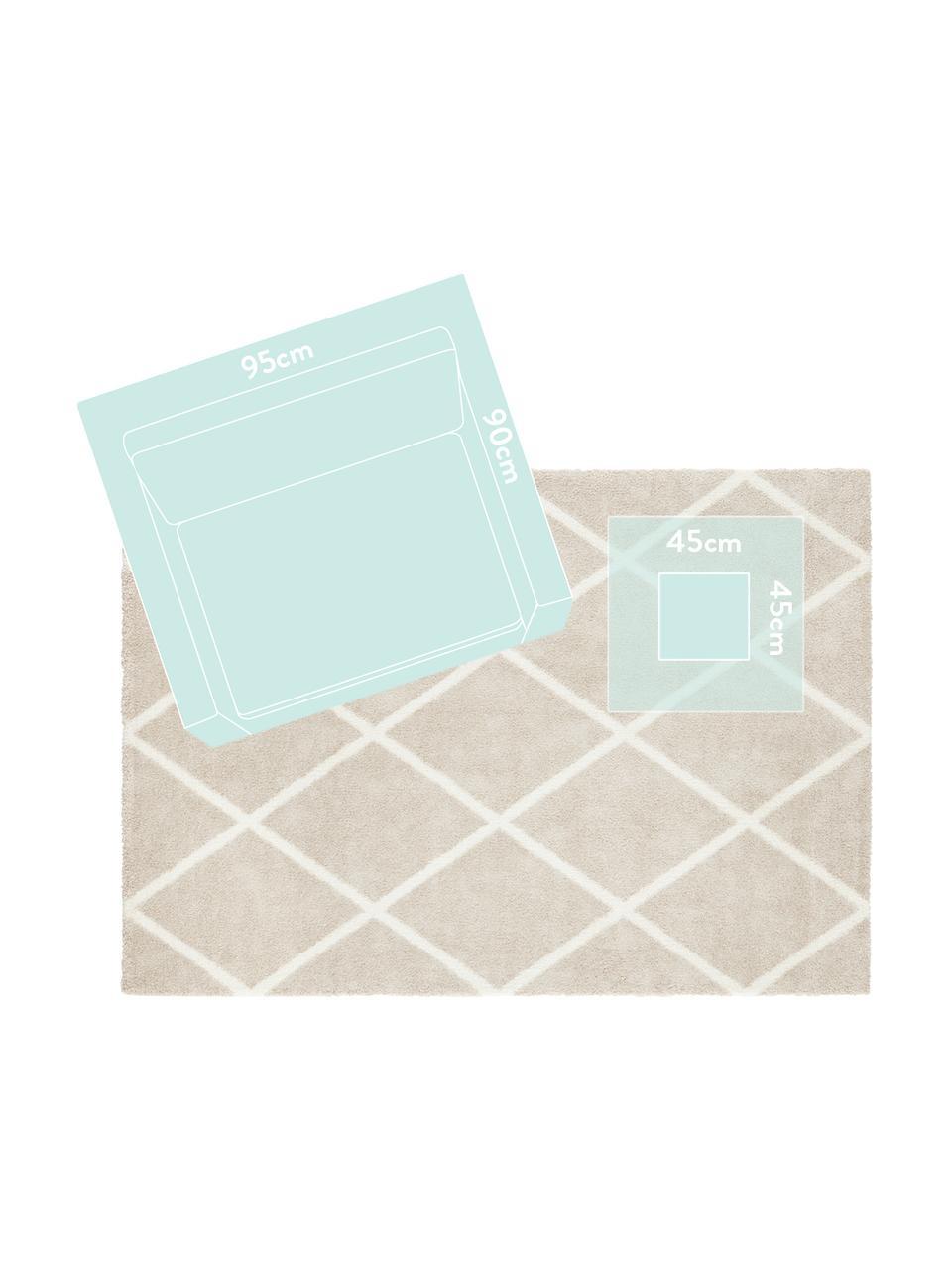 Teppich Lunel mit Rautenmuster, Flor: 85% Polypropylen, 15% Pol, Beige, Cremefarben, B 160 x L 230 cm (Größe M)