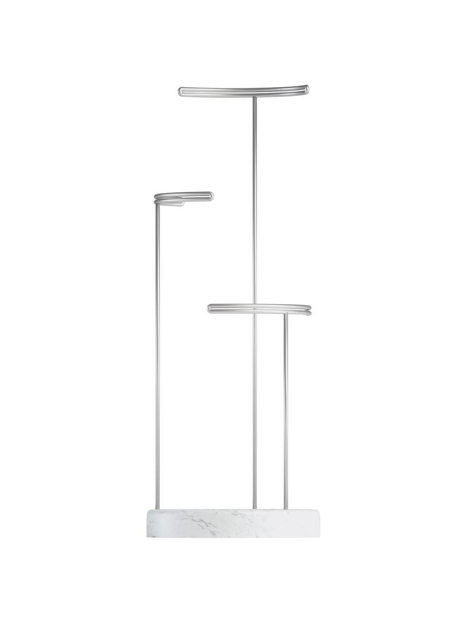 Schmuckhalter Tesora, Sockel: Betonharz, Weiß, Nickel, Ø 15 x H 42 cm