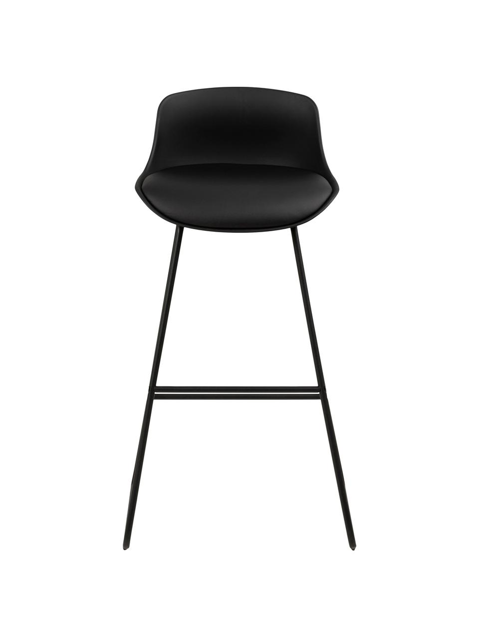 Kunstleder-Barstühle Tina, 2 Stück, Bezug: Kunstleder (Polyurethan), Beine: Metall, pulverbeschichtet, Schwarz, B 43 x T 49 cm