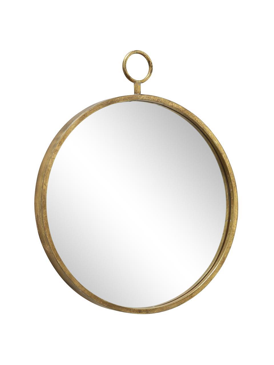 Okrągłe lustro ścienne z metalową ramą Prado, Odcienie mosiądzu, S 55 x W 66 cm