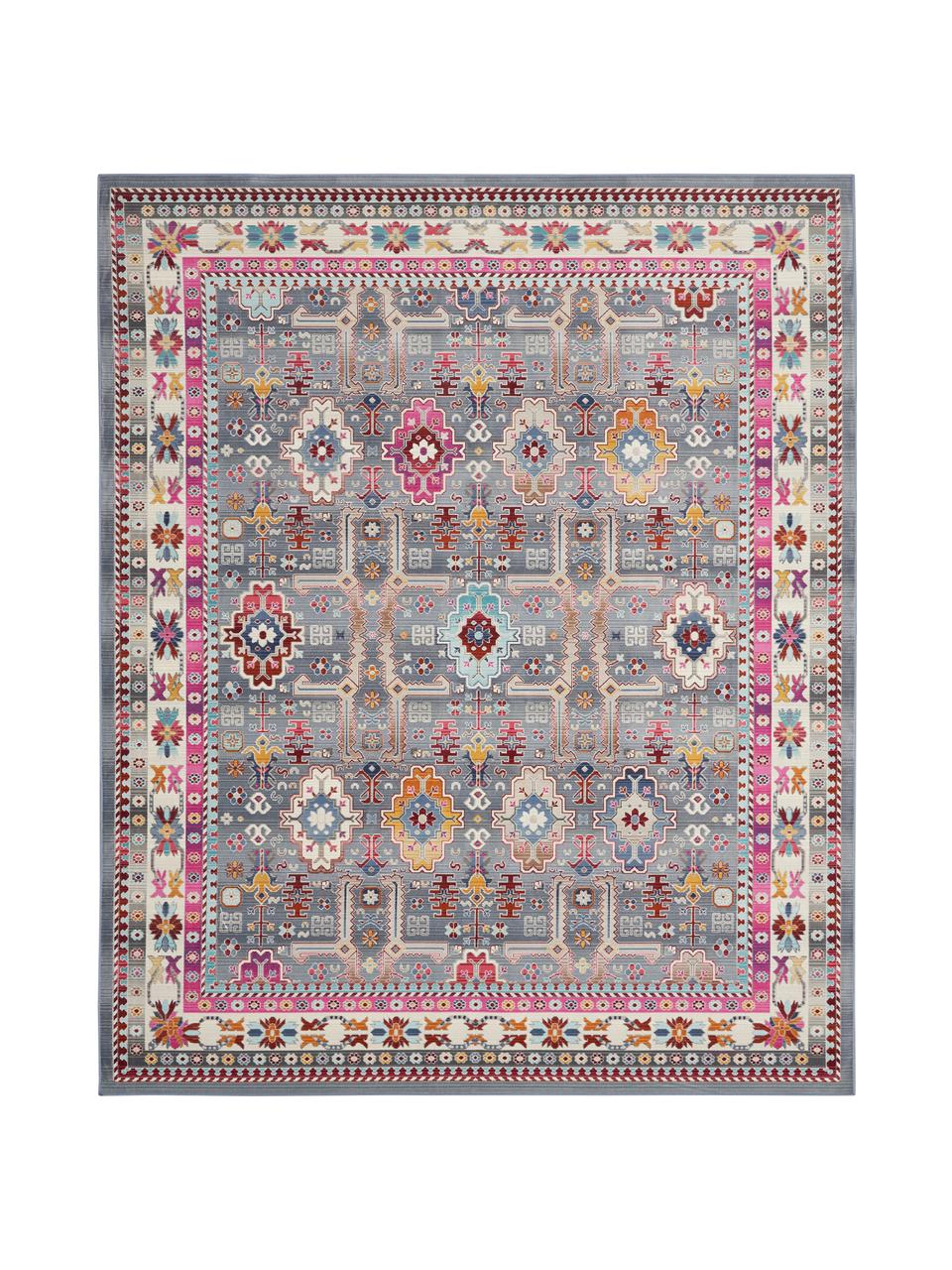 Tapis à poils ras Vintage Kashan, Gris, multicolore