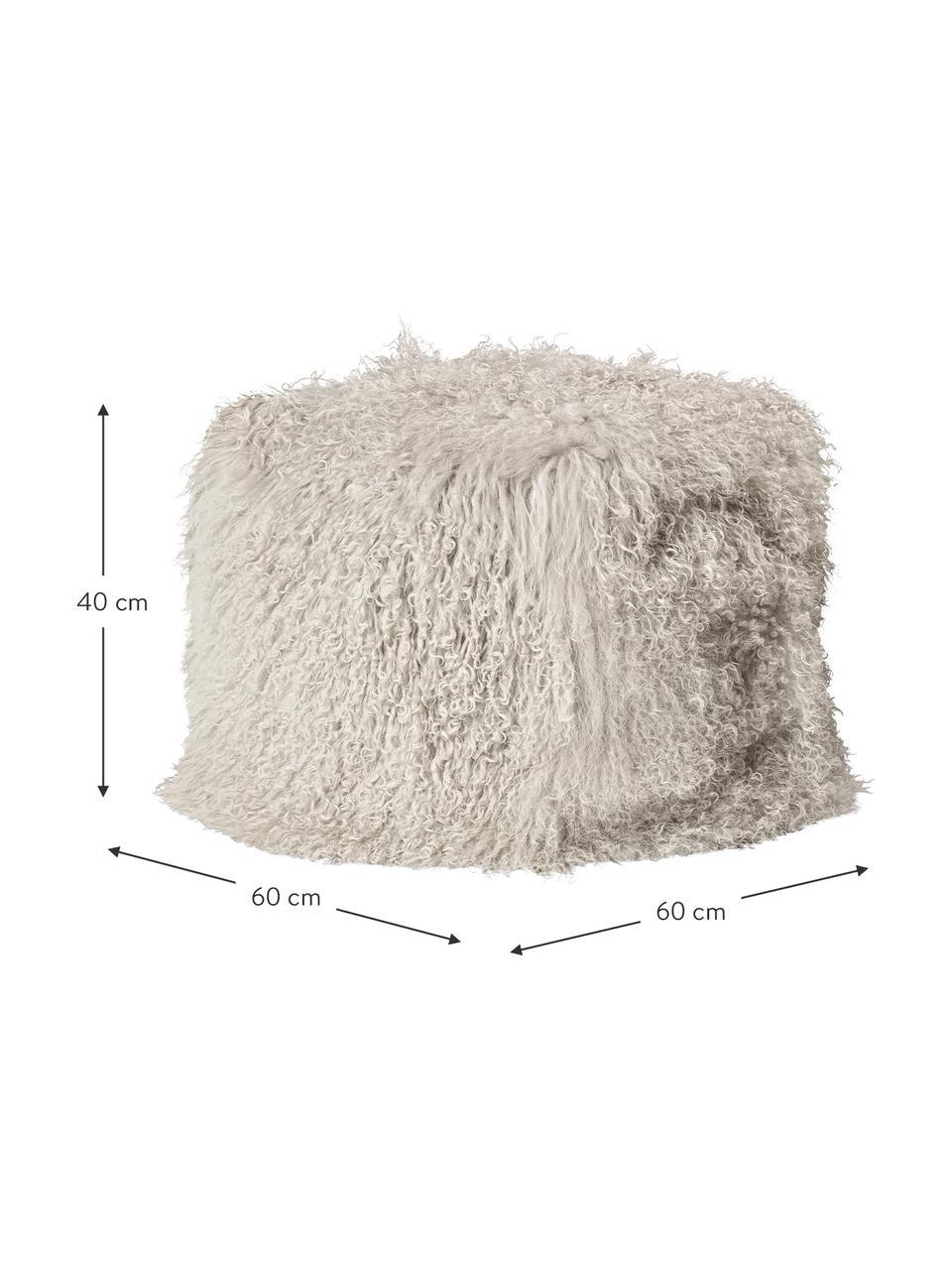 Pouf in pelliccia di agnello Cube, Rivestimento: agnello tibetano, Taupe, Larg. 60 x Alt. 40 cm