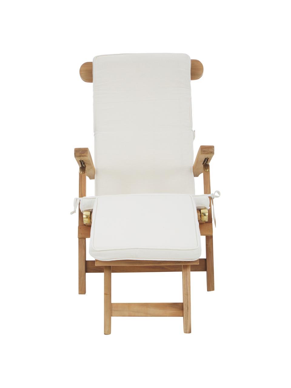 Leżak z drewna tekowego Arrecife, Drewno tekowe, kremowobiały, S 150 x W 80 cm