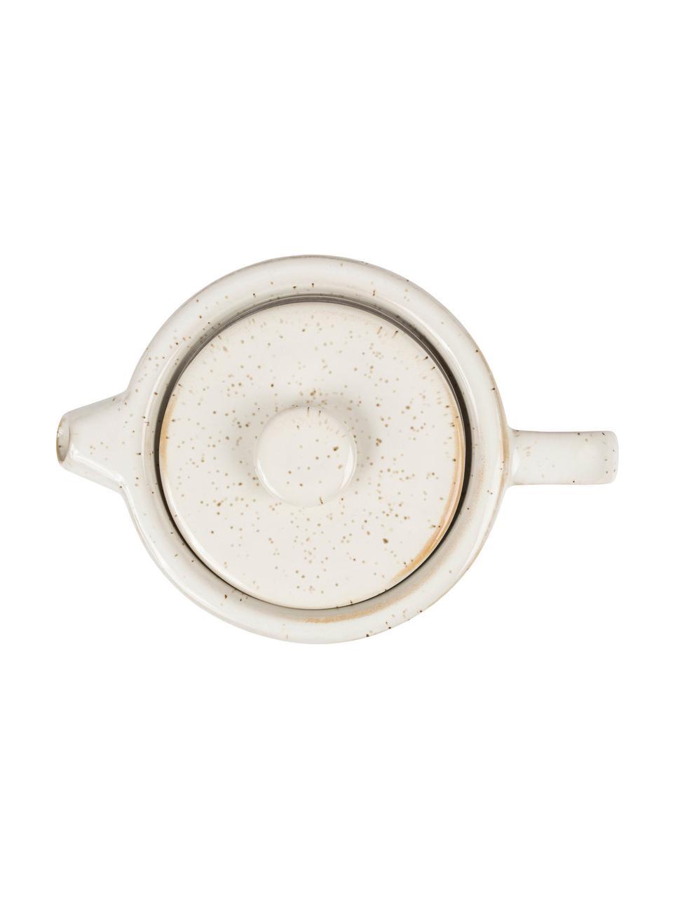 Steingut Teekanne Nordika mit Akazienholzsockel, 700 ml, Steingut, Akazienholz, Weiss, Braun, 700 ml