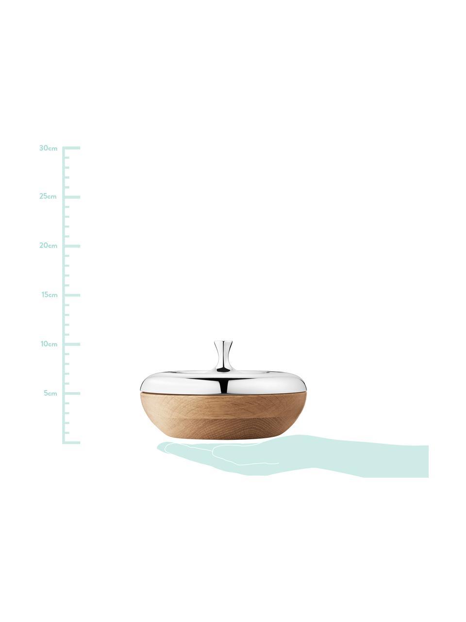 Aufbewahrungsdose Turnip, Dose: Eiche, Deckel: Edelstahl, hochglanzpolie, Dose: Eiche<br>Deckel: Edelstahl, glänzend, Ø 17 x H 10 cm