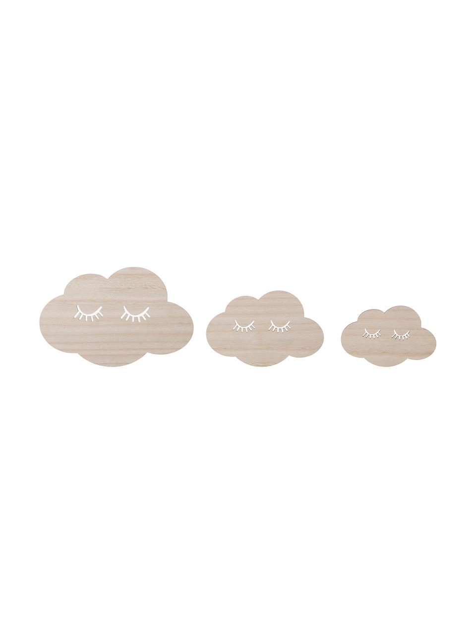 Wandobjekte-Set Clouds, 3-tlg., Sperrholz, Beige, Sondergrößen
