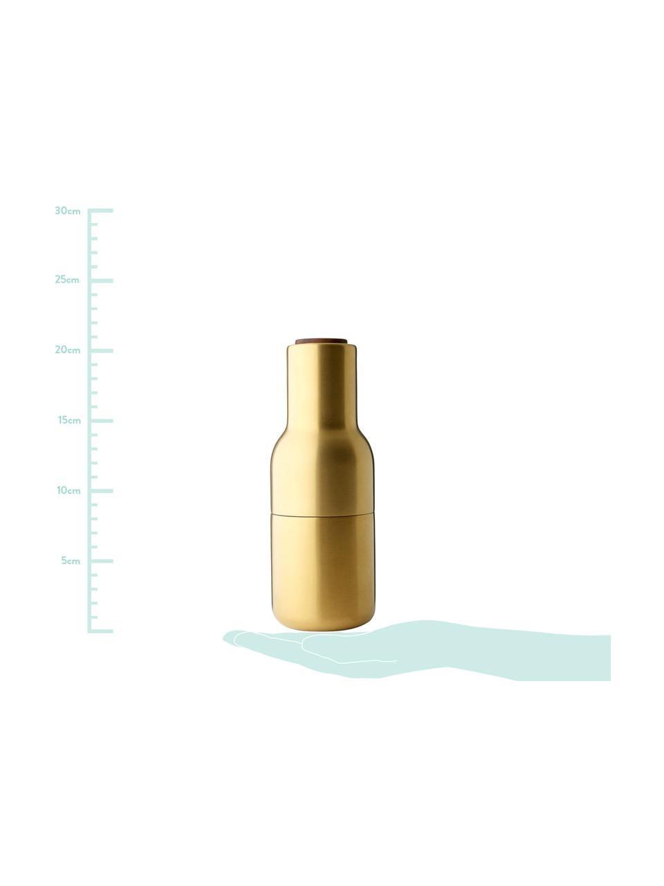 Designer Salz- & Pfeffermühle Bottle Grinder in Gold mit Walnussholzdeckel, Korpus: Stahl, vermessingt und ge, Mahlwerk: Keramik, Deckel: Walnussbaumholz, Messingfarben, Ø 8 x H 21 cm