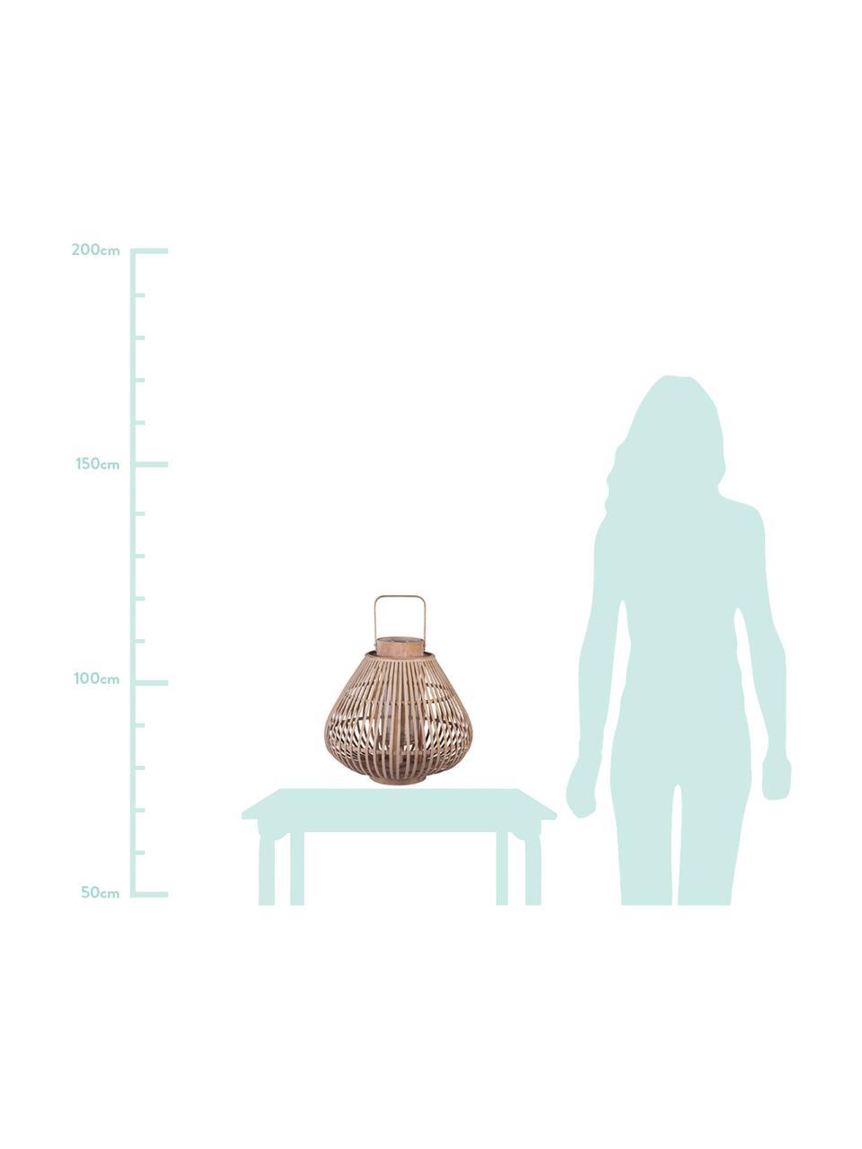 Lanterna Sahara, Bambù, Corpo: legno di bambù<br>Inserto in vetro: trasparente, Ø 32 x Alt. 28 cm