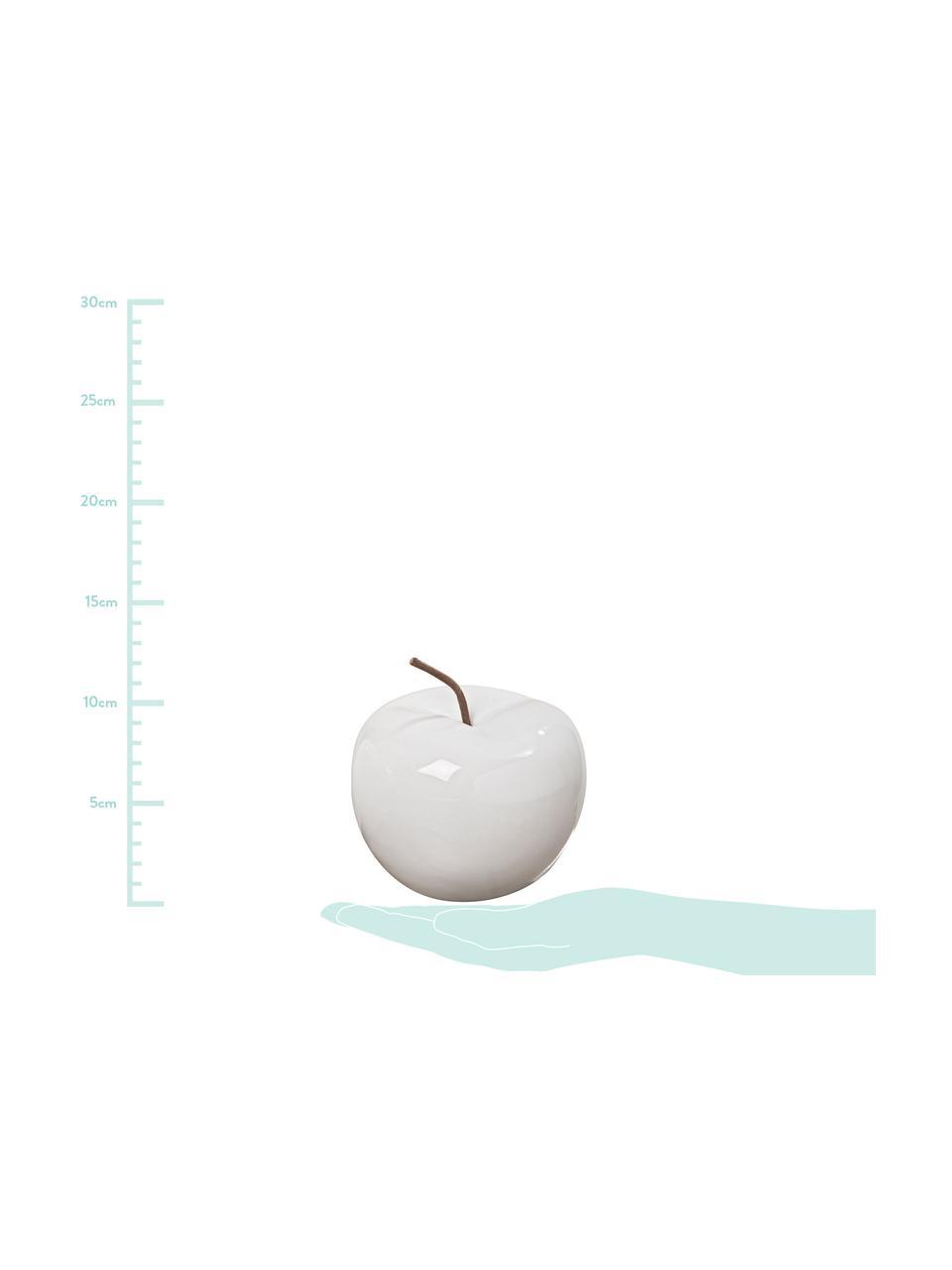 Deko-Äpfel Alvaro, 2 Stück, Steingut, Weiß, Braun, Ø 13 x H 12 cm