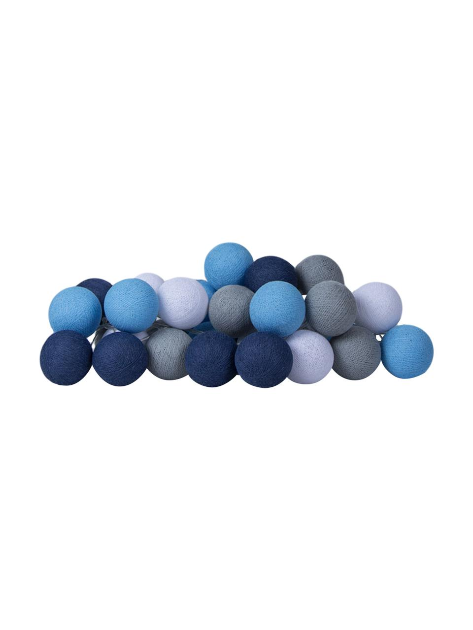 LED Lichterkette Colorain, Lampions: Polyester, Blautöne, Grau, Weiß, L 264 cm