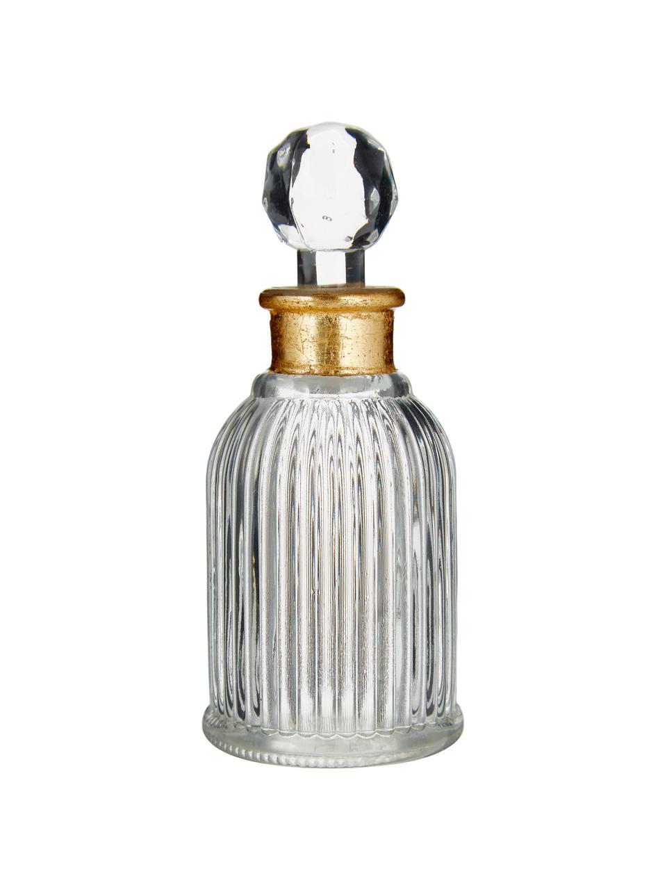 Deko-Flasche Rotira, Glas, lackiert, Transparent, Goldfarben, Ø 6 x H 14 cm