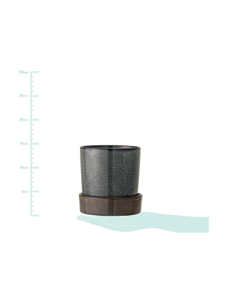 Ręcznie wykonana osłonka na doniczkę z kamionki Chiara, Kamionka, Brązowy, antracytowy, Ø 14 x W 14 cm