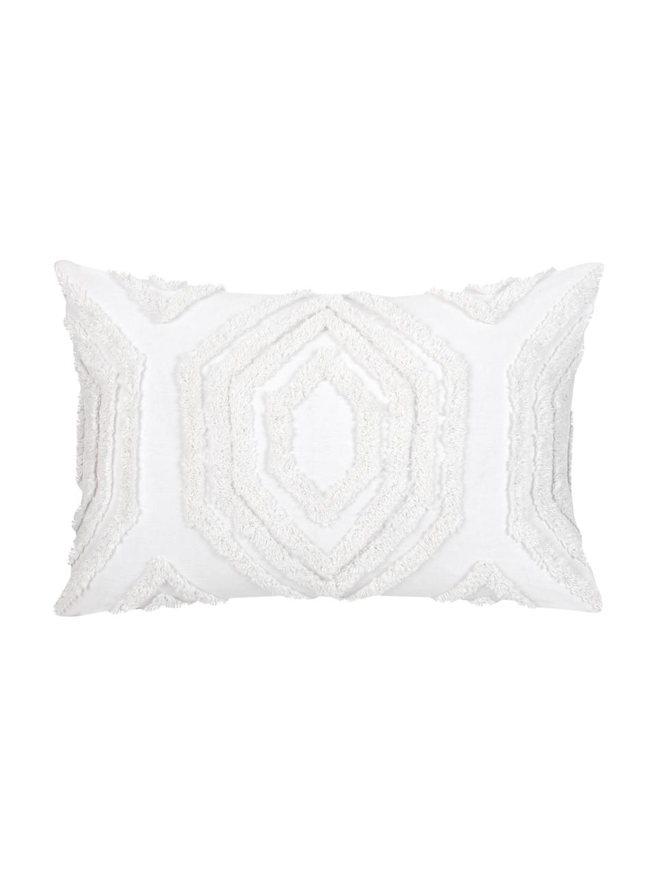 Housse de coussin rectangulaire bohème Faye, Blanc