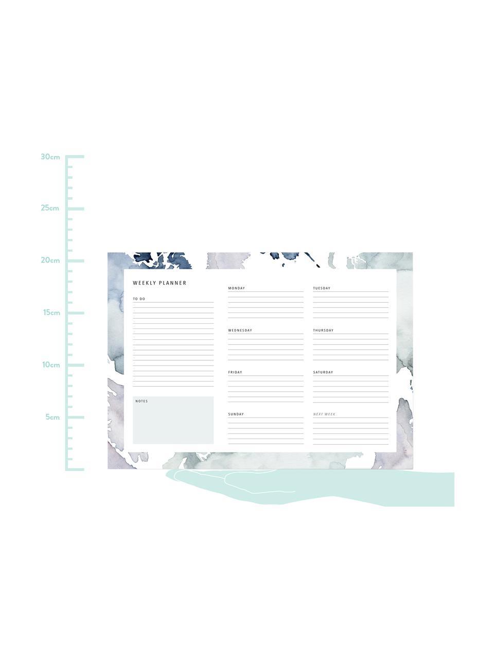 Weekplanner Pastel Stains, Papier, Blauwtinten, wit, 30 x 21 cm