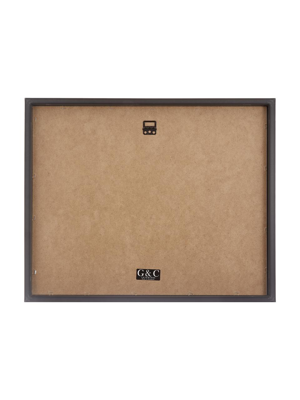 Ingelijste digitale print Picasso's Tekkel, Lijst: kunststof met antieke afw, Print: zwart, wit. Lijst: zilverkleurig, 50 x 40 cm