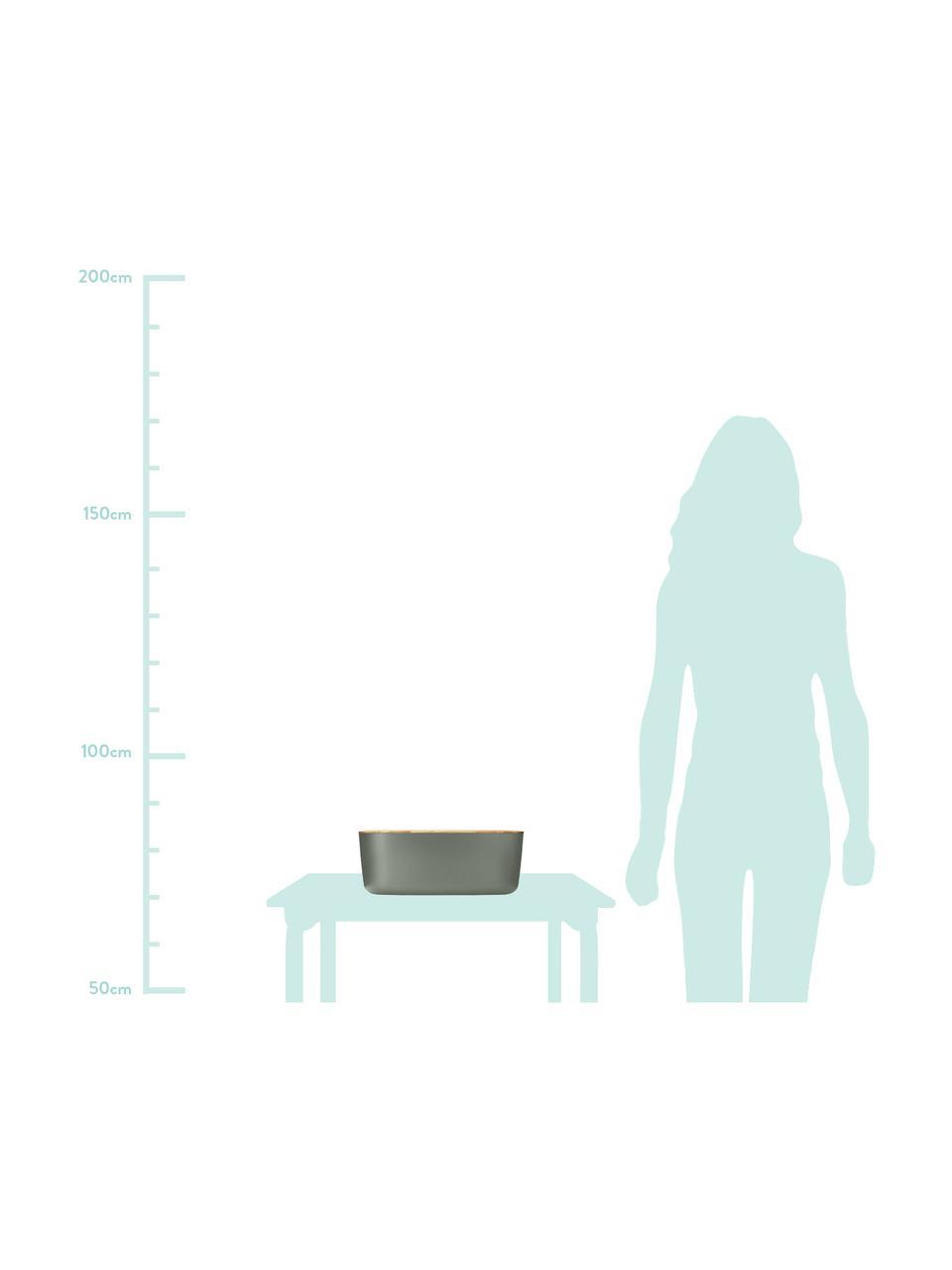 Designer Brotkasten Box-It mit Bambusdeckel, Dose: Melamin, Deckel: Bambus, Dose: Grau<br>Deckel: Braun, 35 x 12 cm