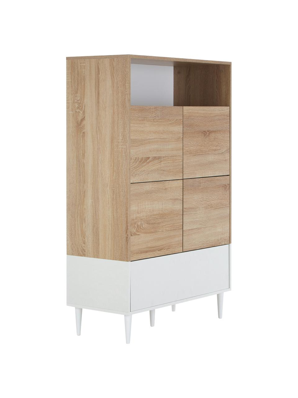 Hoge highboard Horizon in Scandinavisch design en deuren, Frame: melamine gecoate spaanpla, Poten: gelakt massief beukenhout, Eikenhoutkleurig, wit, 90 x 141 cm