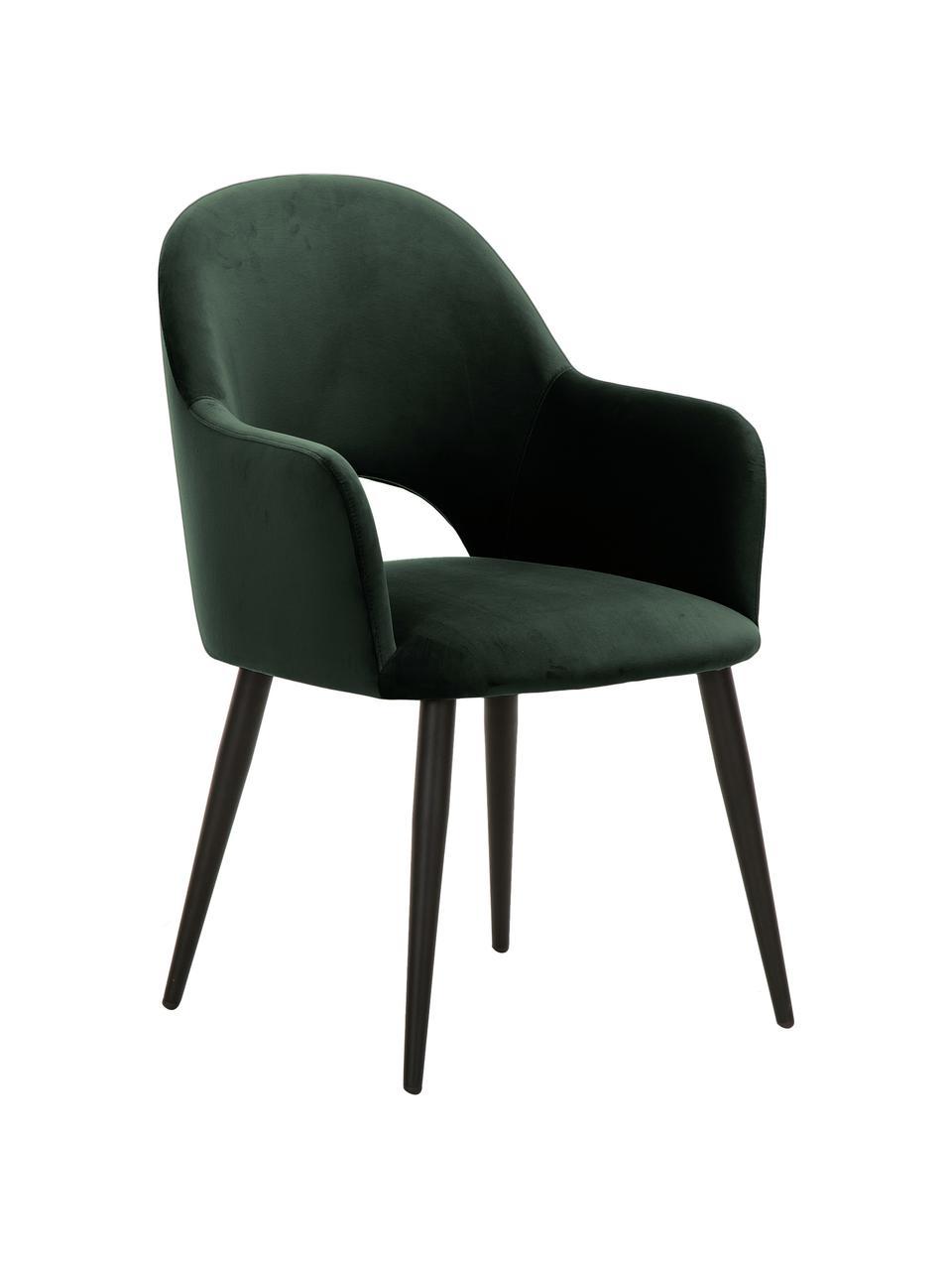Sedia con braccioli in velluto verde scuro Rachel, Rivestimento: velluto (poliestere) Il r, Gambe: metallo verniciato a polv, Velluto verde scuro, Larg. 64 x Prof. 47 cm