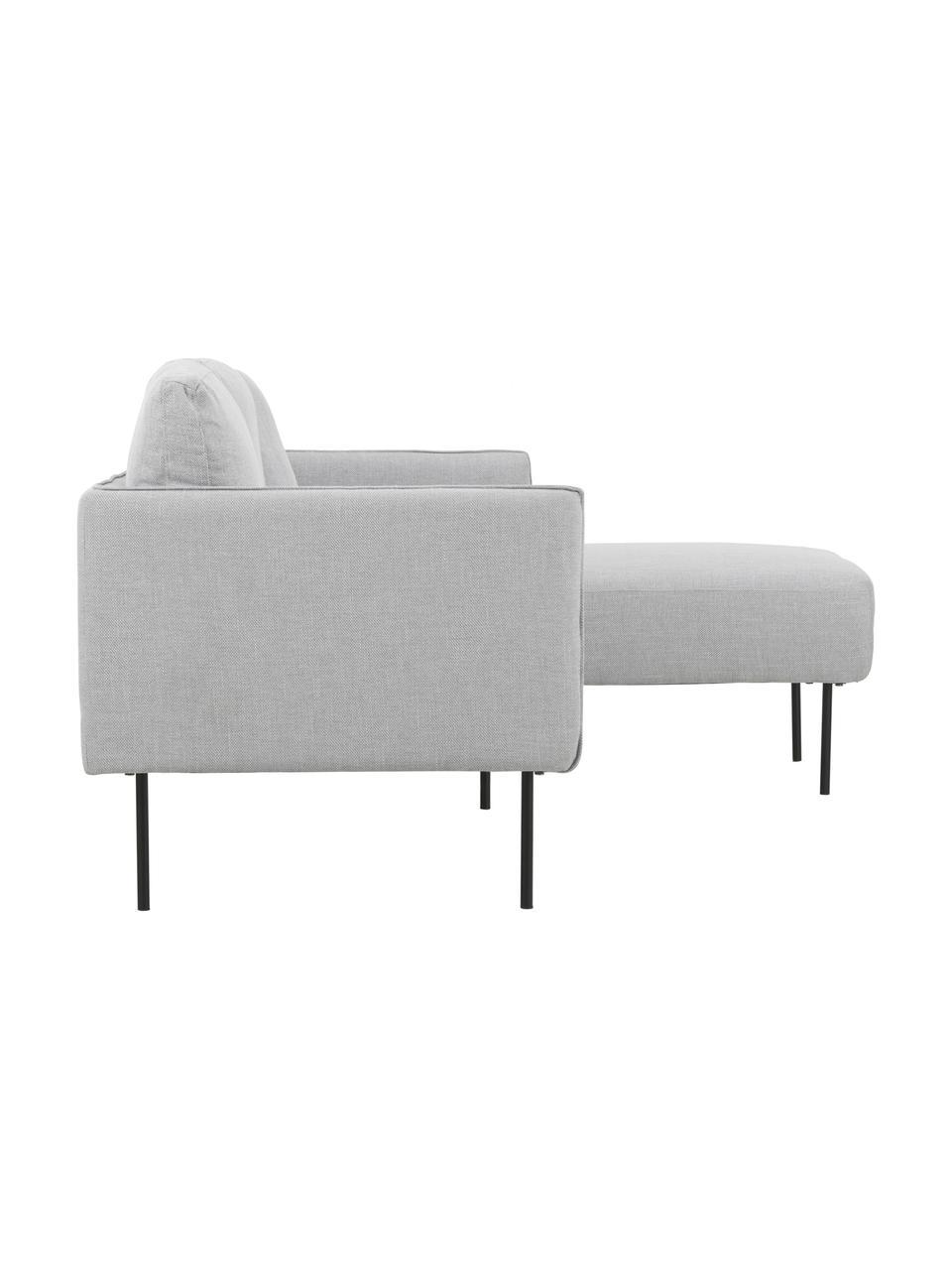 Canapé d'angle gris clair Ramira, Tissu gris clair