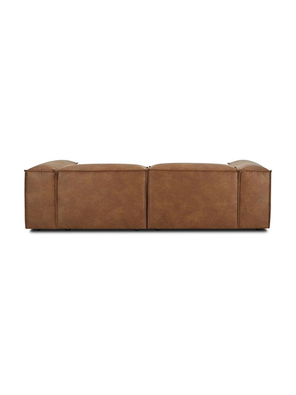Modulaire hoekbank Lennon in bruin van gerecycled leer, Bekleding: gerecycled leer (70% leer, Frame: massief grenenhout, multi, Poten: kunststof, Leer bruin, B 238 x D 180 cm