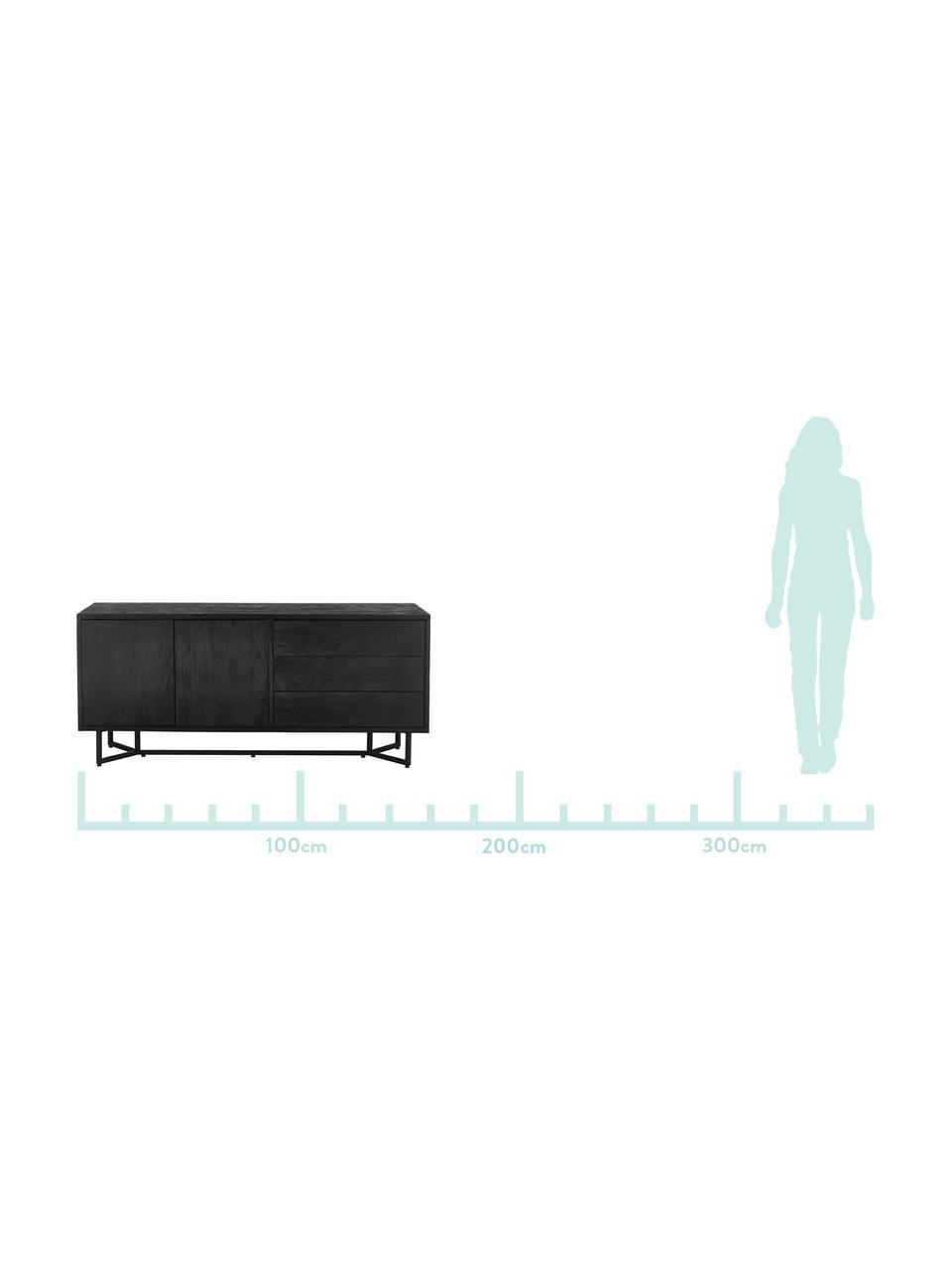 Skříňka z masivního dřeva Luca, Konstrukce: lakovaná černá Rám: matná černá