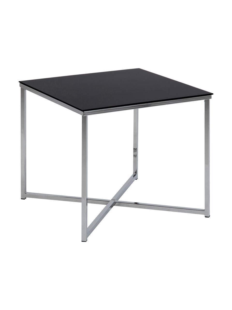 Beistelltisch Matheo mit Glasplatte, Gestell: Metall, verchromt, Tischplatte: Sicherheitsglas, Schwarz, Metall verchrom, 50 x 45 cm