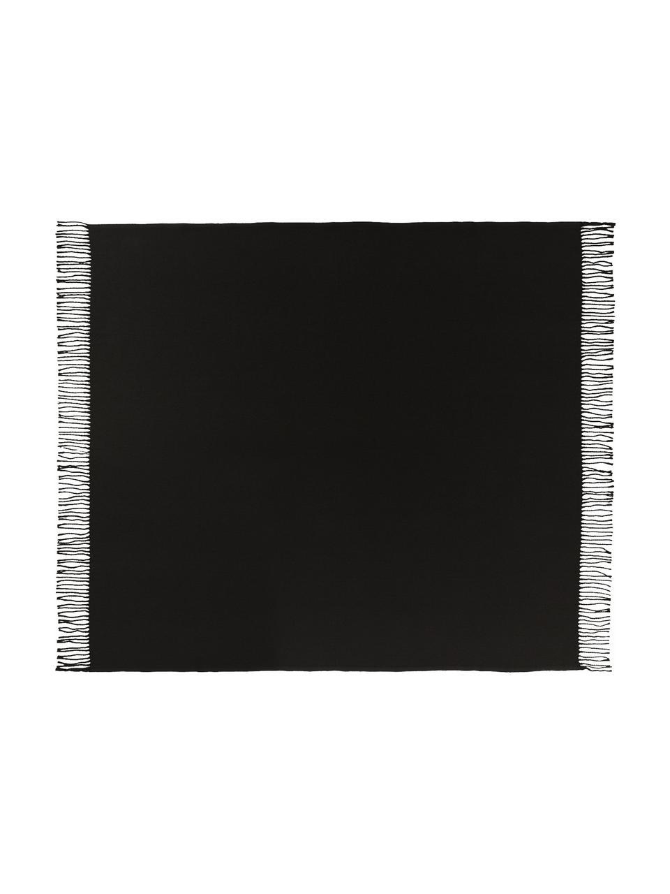 Einfarbiges Plaid Madison in Schwarz mit Fransenabschluss, 100% Baumwolle, Schwarz, 140 x 170 cm