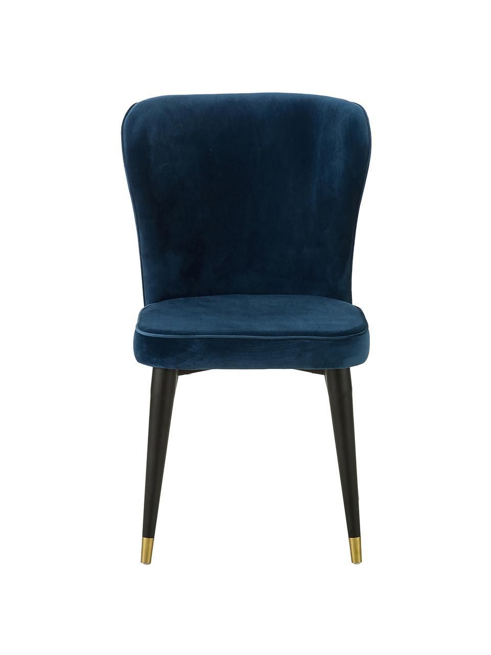 Chaise classique velours rembourré Cleo, Bleu foncé